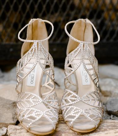 Jimmy Choo Women's Kaci Crystal Suede Leaf Sandal