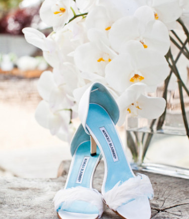 Manolo Blahnik D'Orsay Satin and Feather Pumps